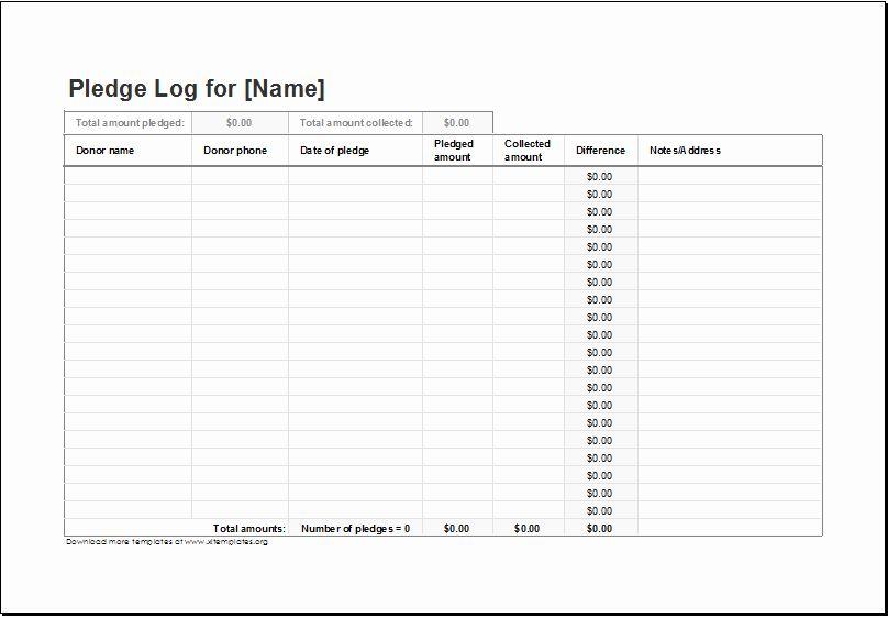 Donation Pledge Form Template Fresh Donation Pledge Log Template For Excel Excel Templates School Newsletter Template Pledge