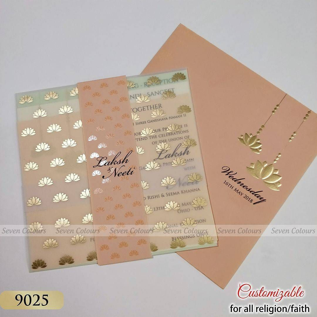Envelope and card in peach pink weddingcards