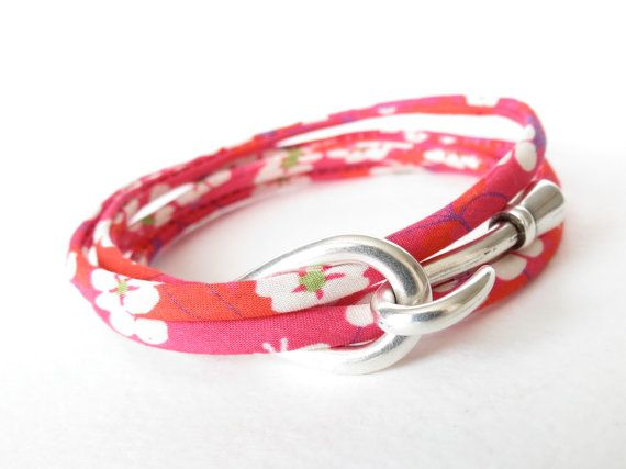 Liberty of London wrap, 4x hipster wrap bracelet in floral fuchsia & white with hook and eye clasp, fabric bracelet