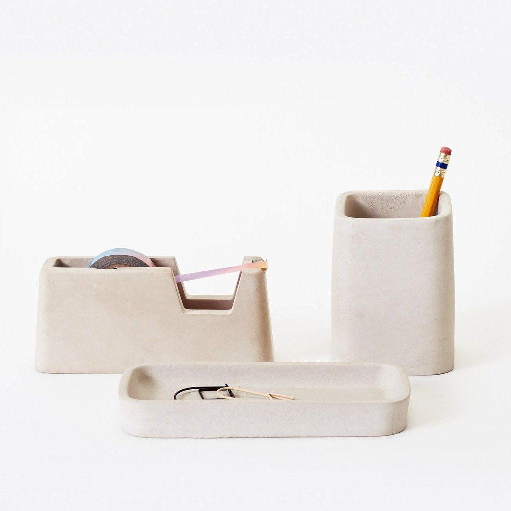 Getting organized is often as simple as having the right tools. With the Areaware Concrete Desk Set everything has its place.  Cast from solid concrete, the set