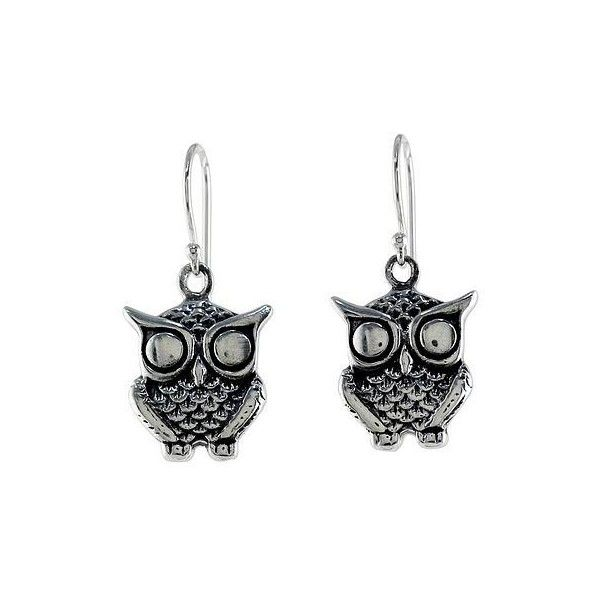 Novica Sterling Silver Owl Dangle Earrings From Thailand 1 625 Inr Liked On Polyvore Featuring Jewelry Clothing Accessories