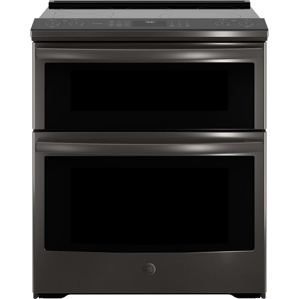 Ge Profile 6 6 Cu Ft Smart Slide In Double Oven Electric Range With Self Cleaning Convection In Black Stainless Steel Ps960blts The Home Depot Double Oven Electric Range Electric Double Oven Double Oven