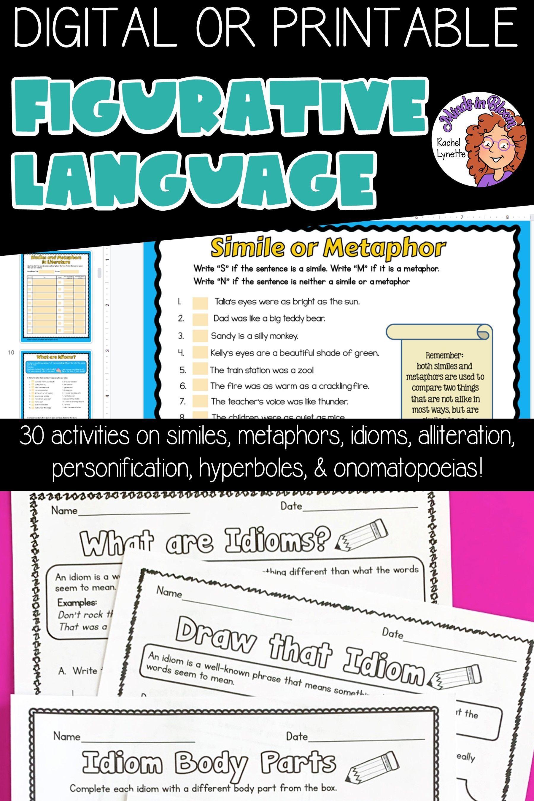 Figurative Language Activities For Upper Elementary Ela Practice Figurative Language Upper Elementary Ela Figurative Language Worksheet