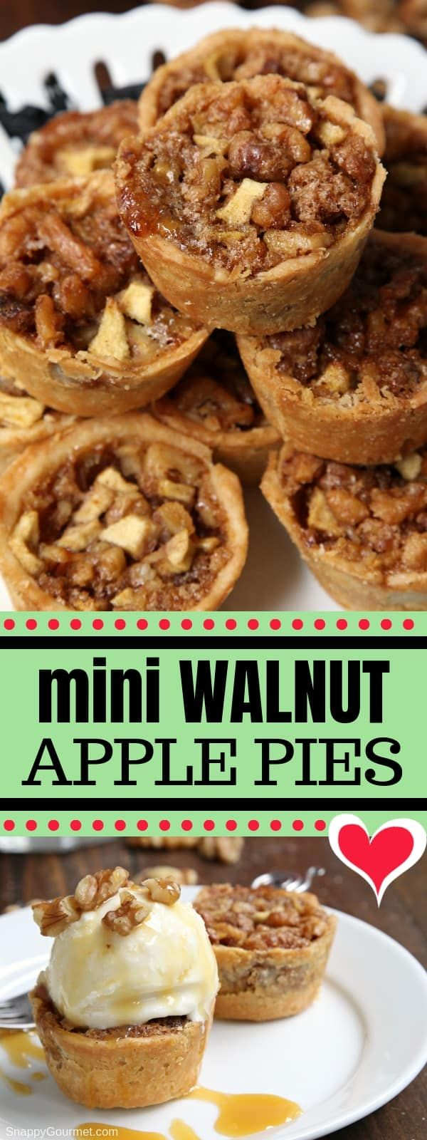 Mini Walnut Apple Pies - easy muffin tin apple pie recipe made in mini muffin pans. Best bite-size Thanksgiving dessert! #Thanksgiving #Pie #ApplePie #SnappyGourmet #dessert #Walnuts #recipes #cinnamon via @snappygourmet #applepie