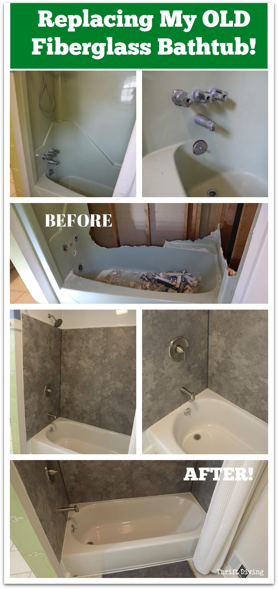 Before After Replacing My Fiberglass Bathtub Bathtub Walls
