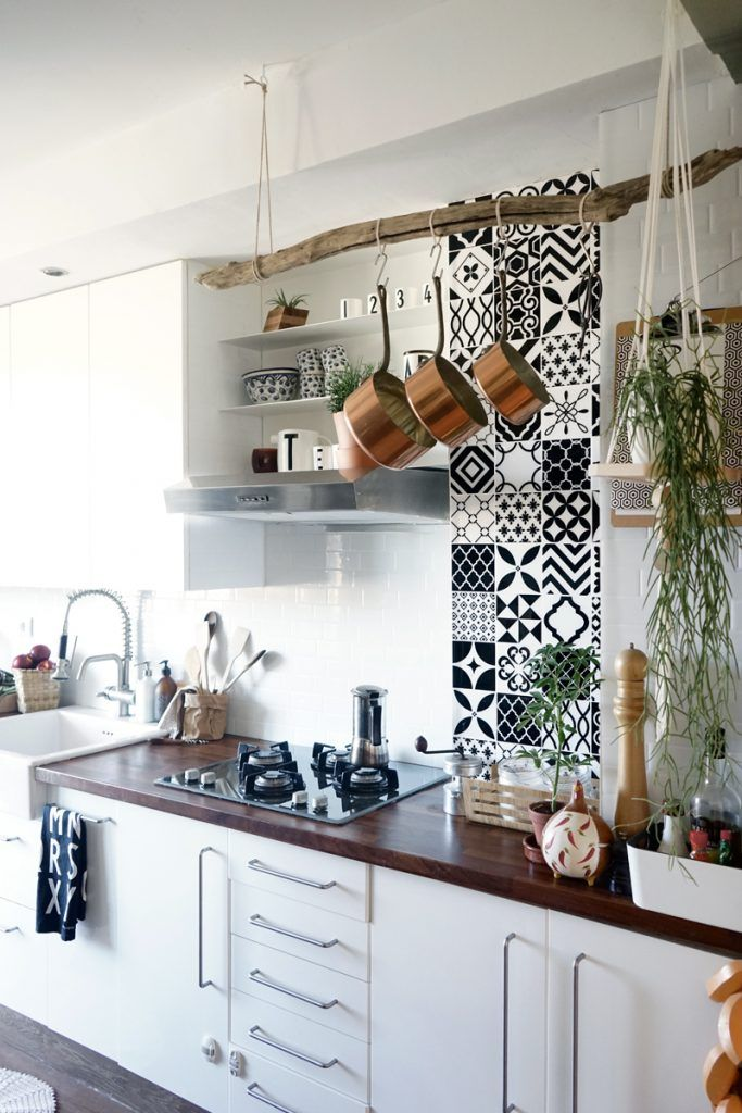 Ma cuisine a fait peau neuve cuisine kitchen carrelage adh sif cuisine cuisine carreaux - Carreaux adhesifs cuisine ...