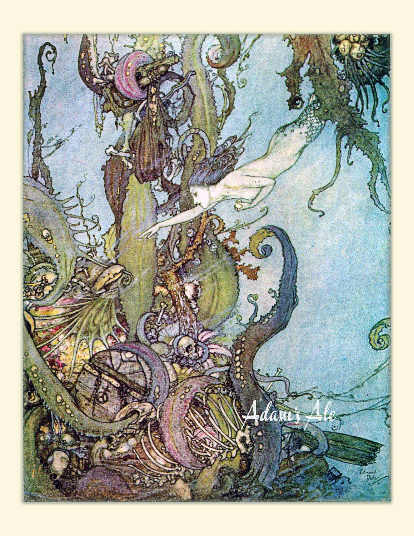 Little Mermaid - Edmund Dulac Love Colors Vintage Children' Book Illustrations