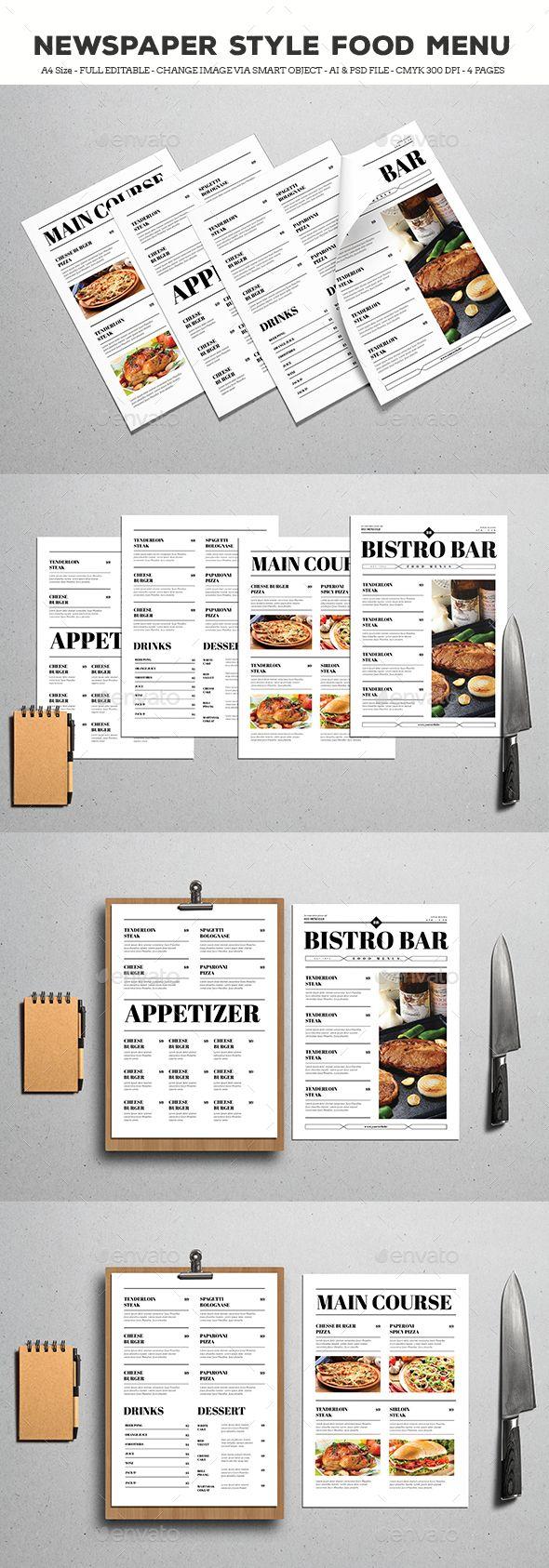 Newspaper Style Food Menus | Restaurante, Diseño de menu y Hecho en casa