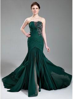 Mermaid Sweetheart Court Train Chiffon Dress With Ruffle Lace Beading Sequins