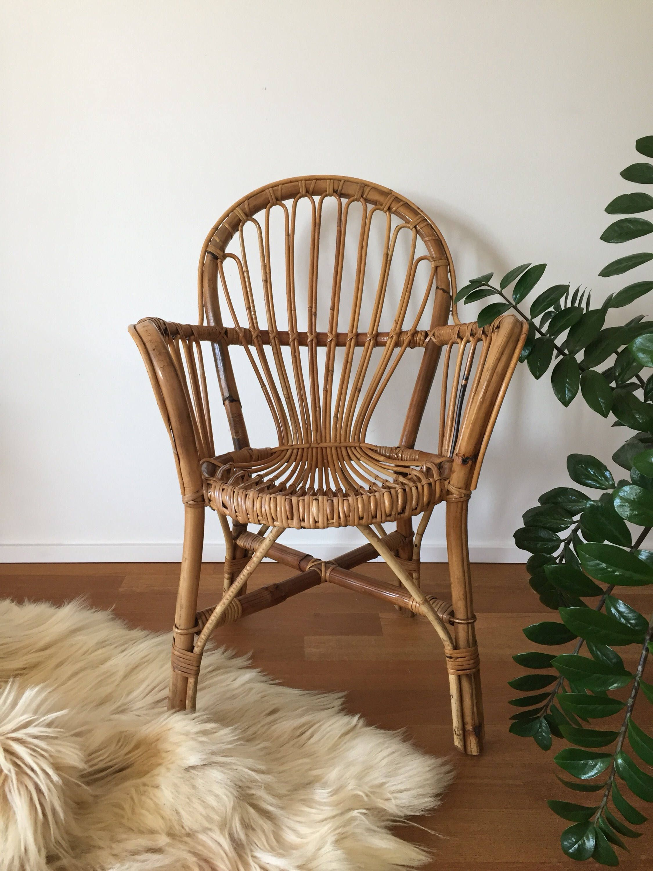 70s basket rattan bamboo chair basket wicker chair | moebelglueck