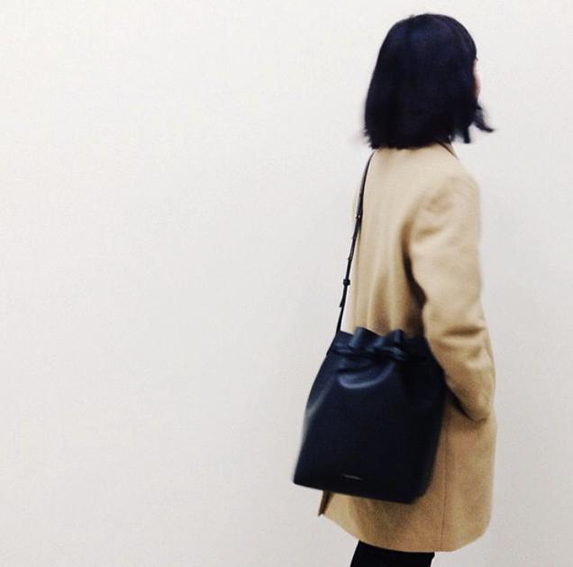 MANSUR GAVRIEL Coated Large Bucket Bag in Black
