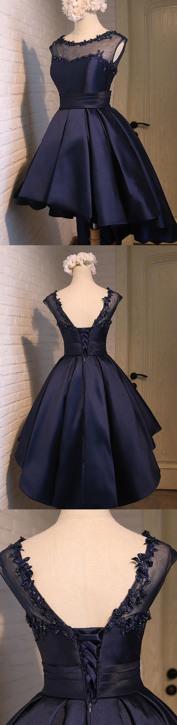 Charming Navy Blue Homecoming Dress,Lace Appliques Beaded Short Dress,Sleeveless Homecoming Gown