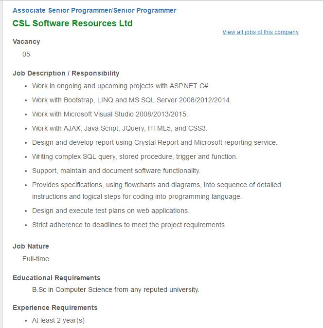Career – CSL Software Resources Ltd – Associate Senior Programmer