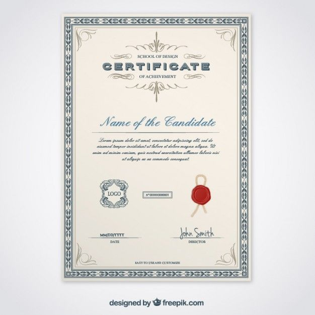 High Quality Elegant Certificate Template Vector | Free Download Idea Download Certificate Templates