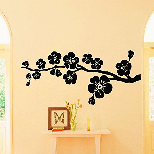 Vinyl wall decals branch flowers floral design decal sticker home decor art mural z687 wisdomdecalhouse http