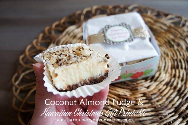 Coconut Almond Fudge and Hawaiian Christmas Gift Printable #hawaiianfoodrecipes