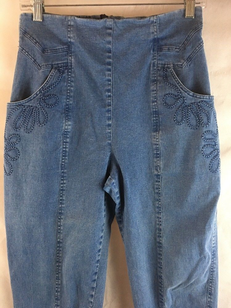 Denim stretch jeans back zipper straight legs pocket