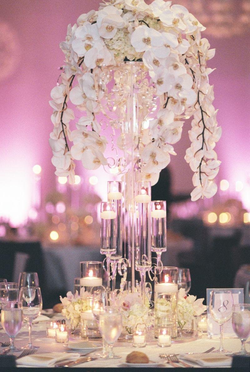 Denver Art Museum Wedding   Design Works Events   Ashley Sawtelle   Orchid Centerpiece   Pink Lighting