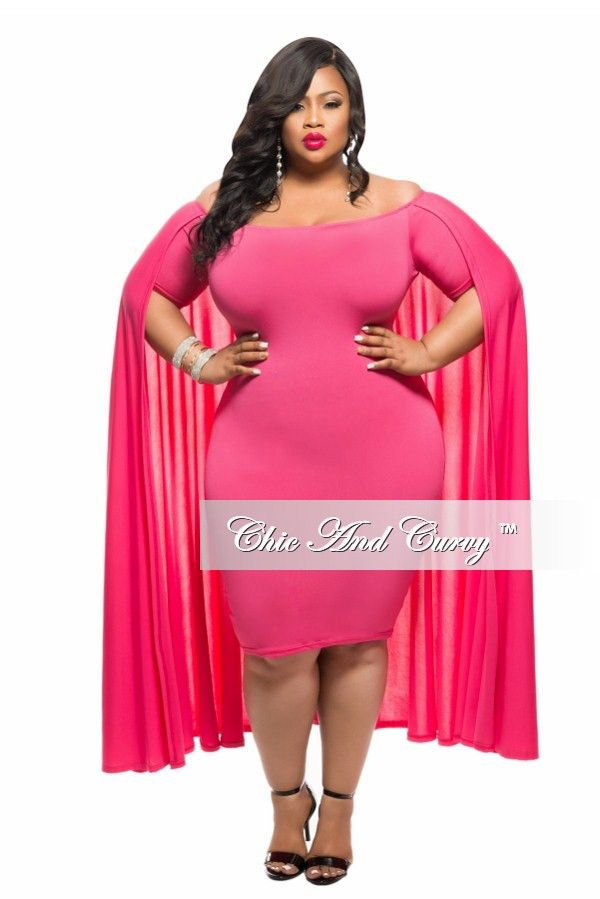Plus Size Bodycon Off The Shoulder Cape Dress In Pink Chic And