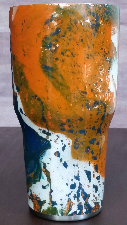 Hydro dipped swirl cup / Hydro dipped swirl tumbler / Orange, blue ...