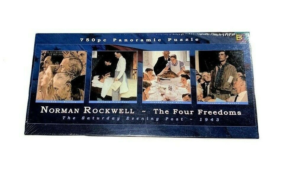 Norman Rockwell The Four Freedoms 750 Pcs Panoramic Puzzle 38 25 X