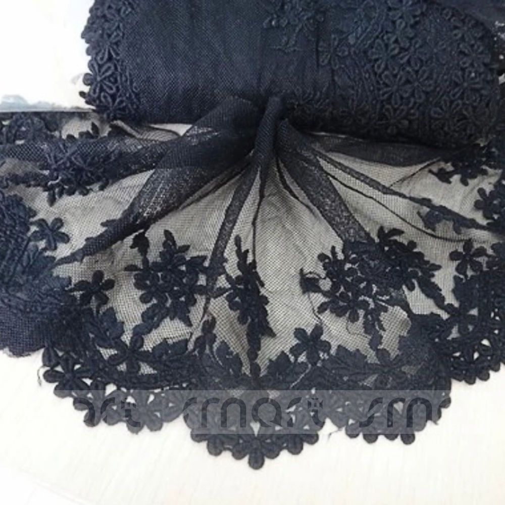 1 Yard Embroidery Trim Floral Cotton Lace Ribbon For Wedding Clothing Sewing DIY