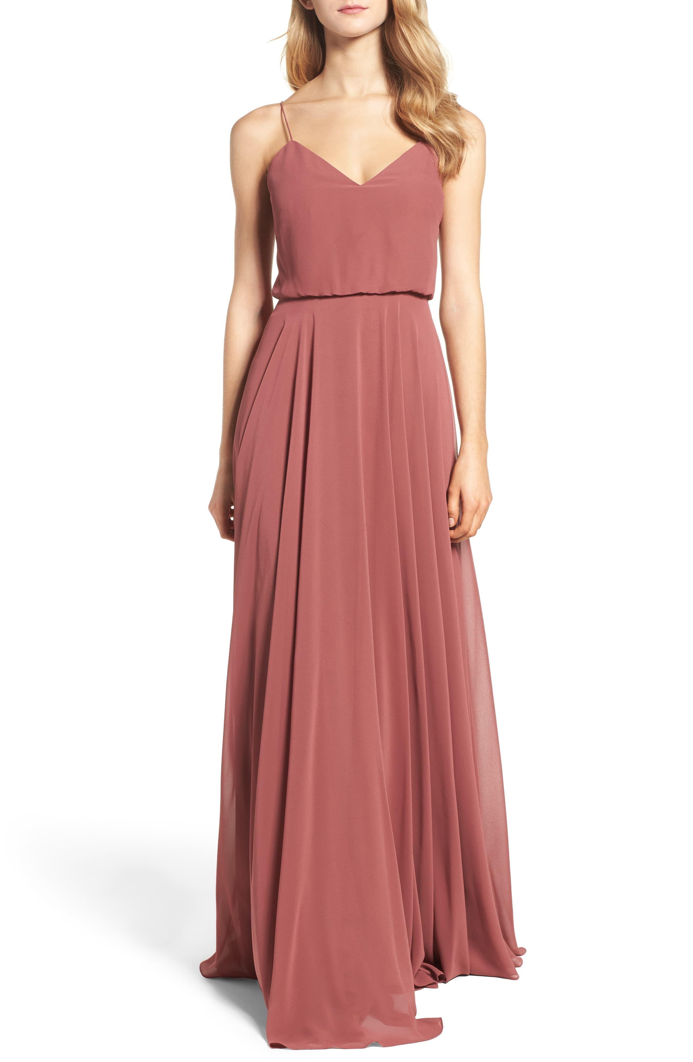 7bd78280a194 Women's Jenny Yoo Inesse Chiffon V-Neck Spaghetti Strap Gown, Size 2 - Pink