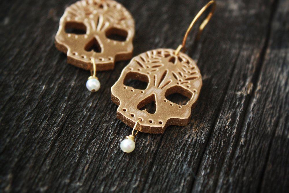 Gold Wood Sugar Skull Earrings with Freshwater Pearl Drops.
