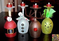 Christmas Wine Glasses- made with dollar store wine glasses and glitter blast spray paint. Courtesy of: