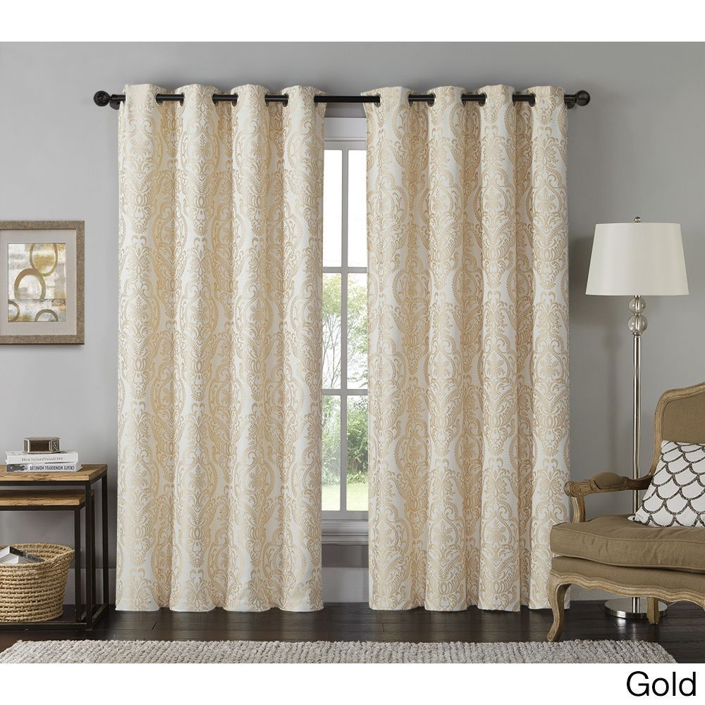 Vcny Longview Grommet-Top Curtain Panel (Gold), Size 84 Inches (Polyester, Medallion)