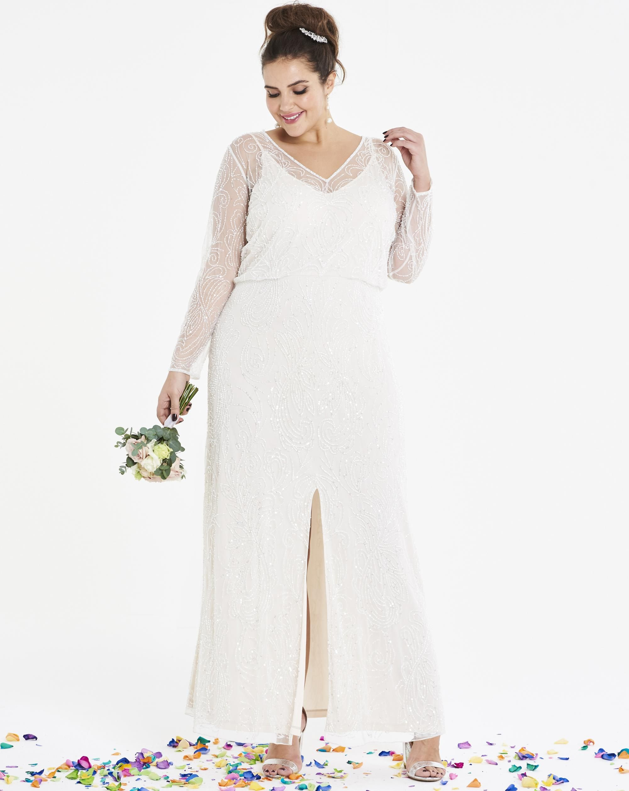 Plus size dresses for wedding summer beaded bridal maxi dress