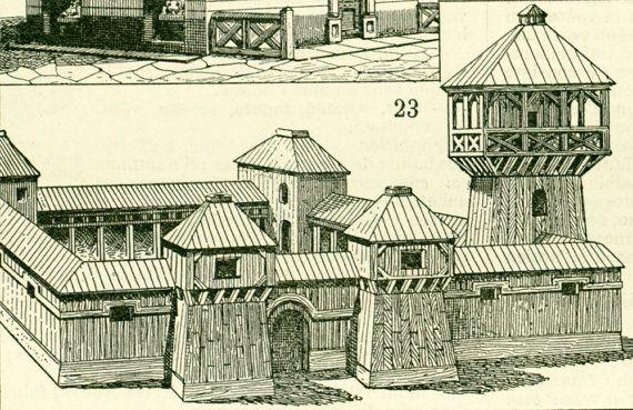 1897 Histoire de l'architecture Habitation du monde Larousse Grand format planche originale 115 ans d age