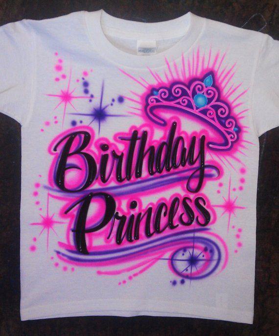 7f024d46f Airbrushed Crown Princess Tiara Birthday School Pre K Princess Custom T- shirt * Baby Bodysuit * Hood