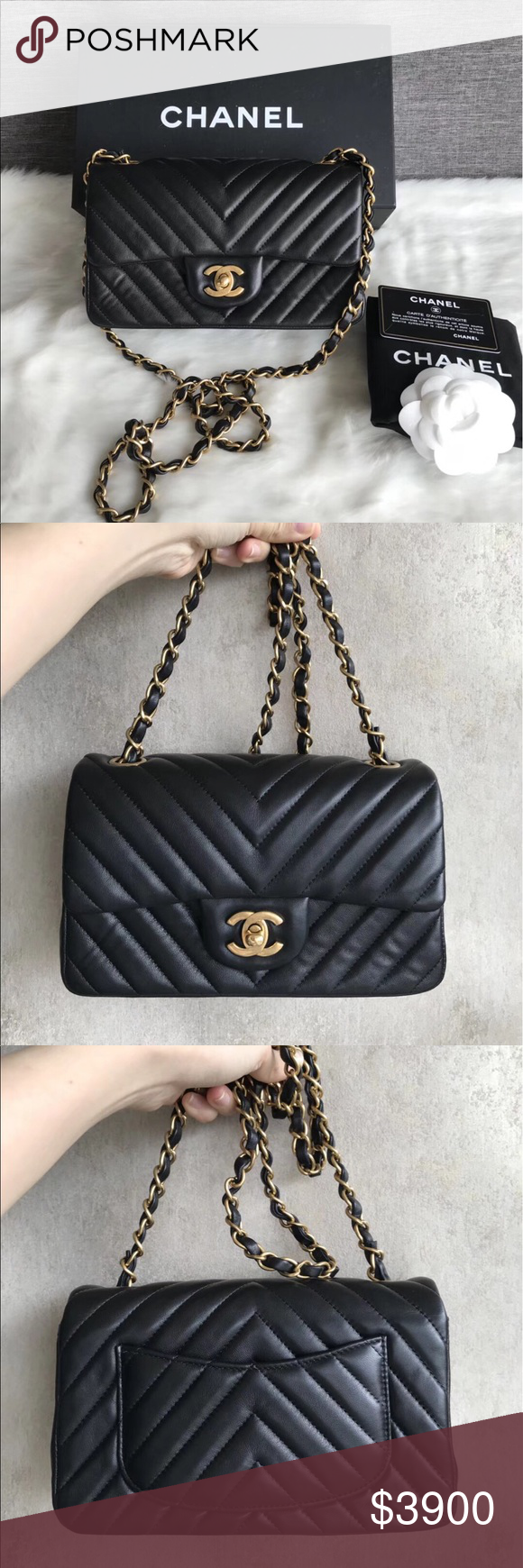 81dbea9d49ab No scuffs at 4 corners. Clean interior & exterior. Comes with card, dust bag  & box. CHANEL Bags Crossbody Bags. Authentic Chanel Chevron Mini 20cm ...