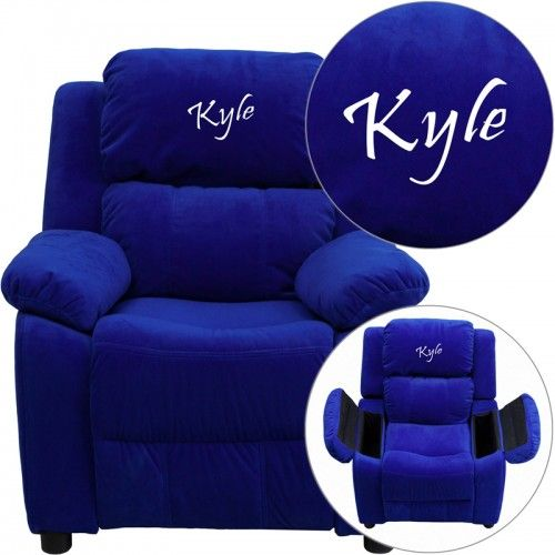 Personalized Deluxe Padded Microfiber Kids Recliner With Storage Arms Kids Recliners Personalized Kids Chair Kids Chairs