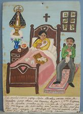 Vintage Mexican Retablo Exvoto-Religious Folk Art Painting for Virgen de Zapopan