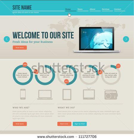 Vintage Website Template Stock Vector Website Template Corporate Website Design Templates