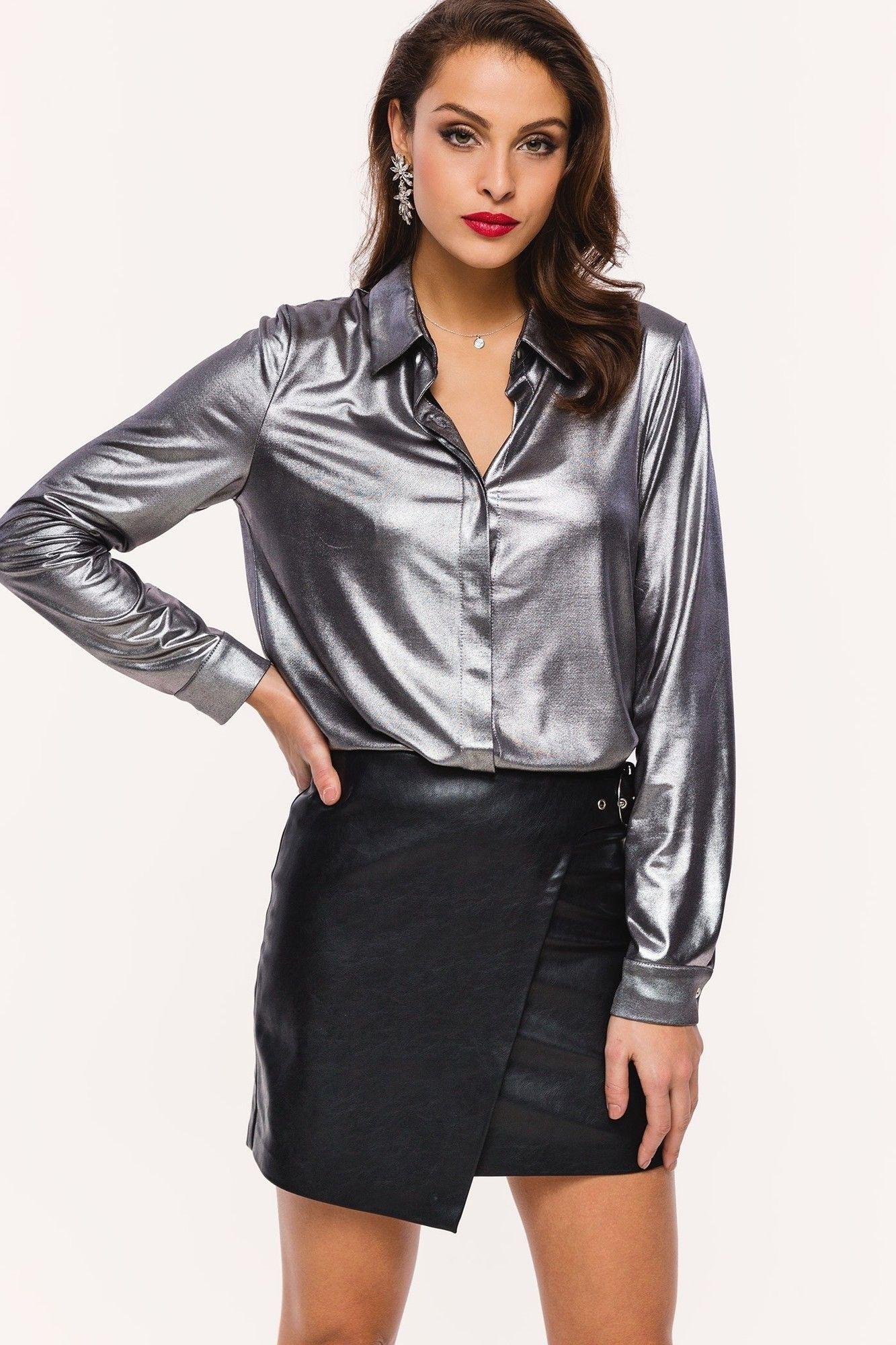 Loavies silver blouse | Fashion Webshop LOAVIES Blusen, Pvc Rock,  Lederhosen, Leder Outfits