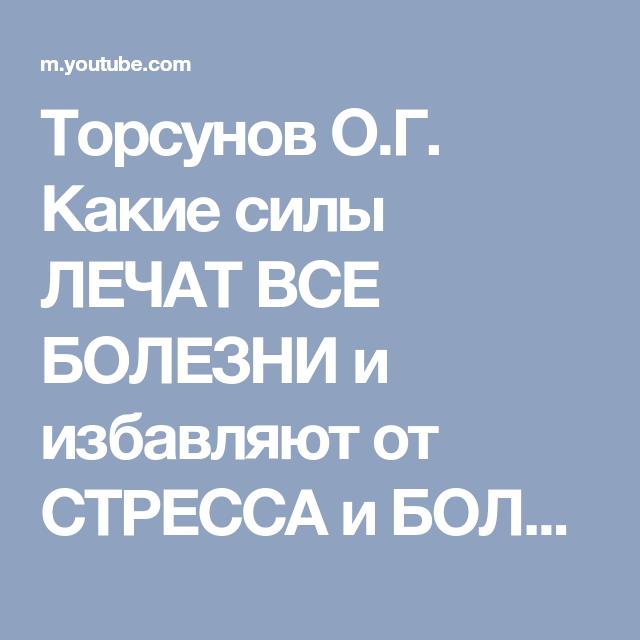 Торсунов О.Г. Какие силы ЛЕЧАТ ВСЕ БОЛЕЗНИ и избавляют от СТРЕССА ...