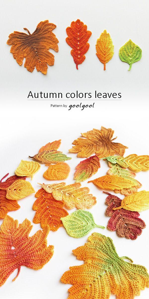 Crochet Pattern Autumn Leaves Crochet Leaf Pattern Fall Table