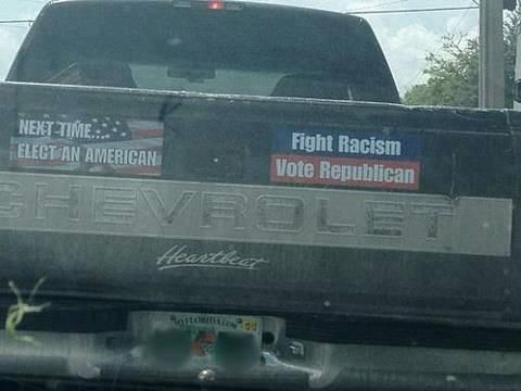 Fight racism vote republican equal rightsred statebumper stickersatheismasylumhuman rightscitizenblindspolitics