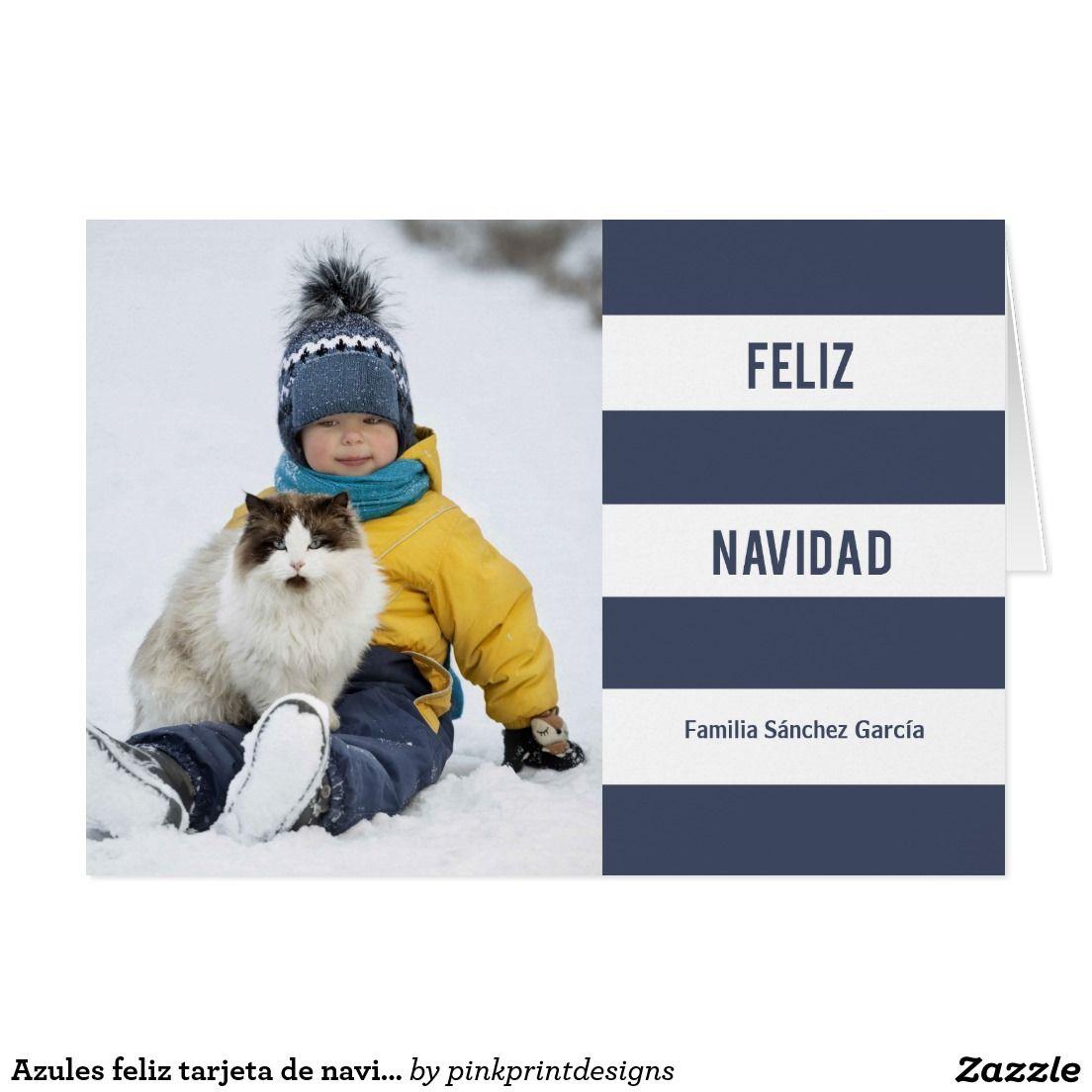 Azules feliz tarjeta de navidad de la foto card