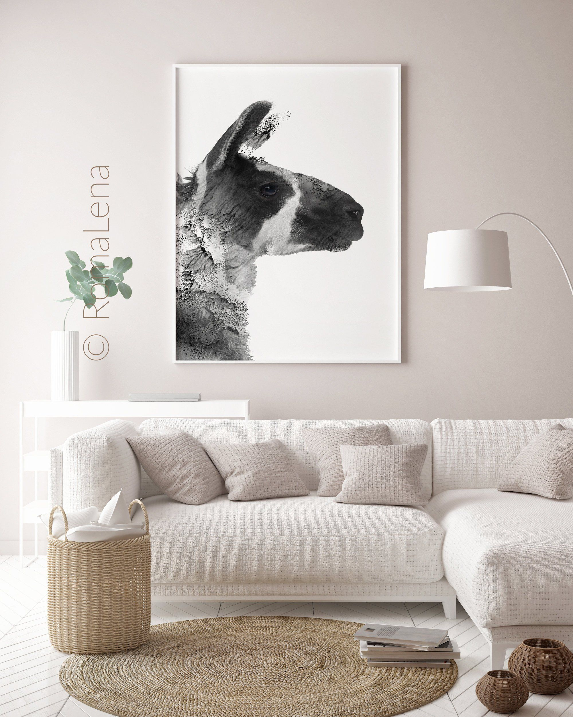 Lama Art Wall Art Print Animal Prints Black And White Wall Decor Alpaca Peekaboo Art Pos Wall Art Decor Living Room White Wall Decor Wall Art Living Room #white #wall #decor #for #living #room