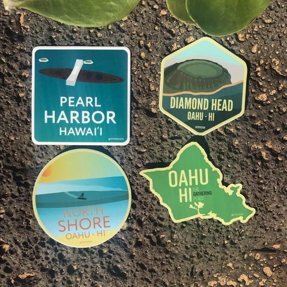 Oahu Vinyl Sticker Set (All 4) | Island Outline North Shore Pearl Harbor Diamond Head | Water Bottle Laptop Car Hawaii HI Gift Idea #pictureplacemeant