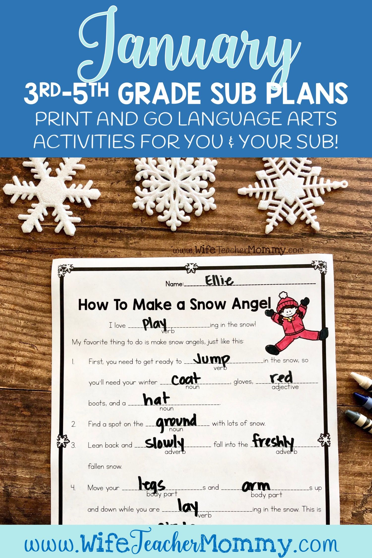 January Sub Plans Ela For 3rd 4th And 5th Grades Winter