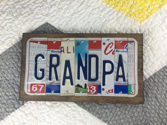 License Plate Sign-- Grandpa Gift- Grandpa Sign-- Grandpa's Birthday- Grandpa Birthday Gift- Car Sign - Vintage License Plates- Garage Sign