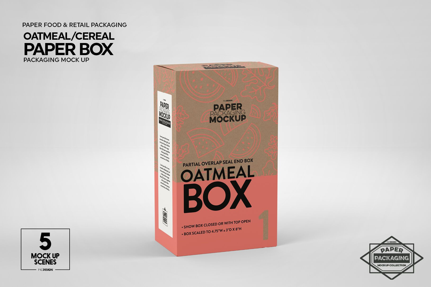 Paper Oatmeal Cereal Box Packaging Mockup By Inc Design Studio Thehungryjpeg Com Cereal Aff Box Pa Packaging Mockup Free Packaging Mockup Box Packaging