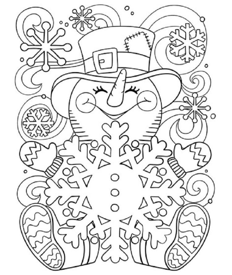 Snowman Coloring Pages For Adults Malarbocker Malarbok Barn Farglagga