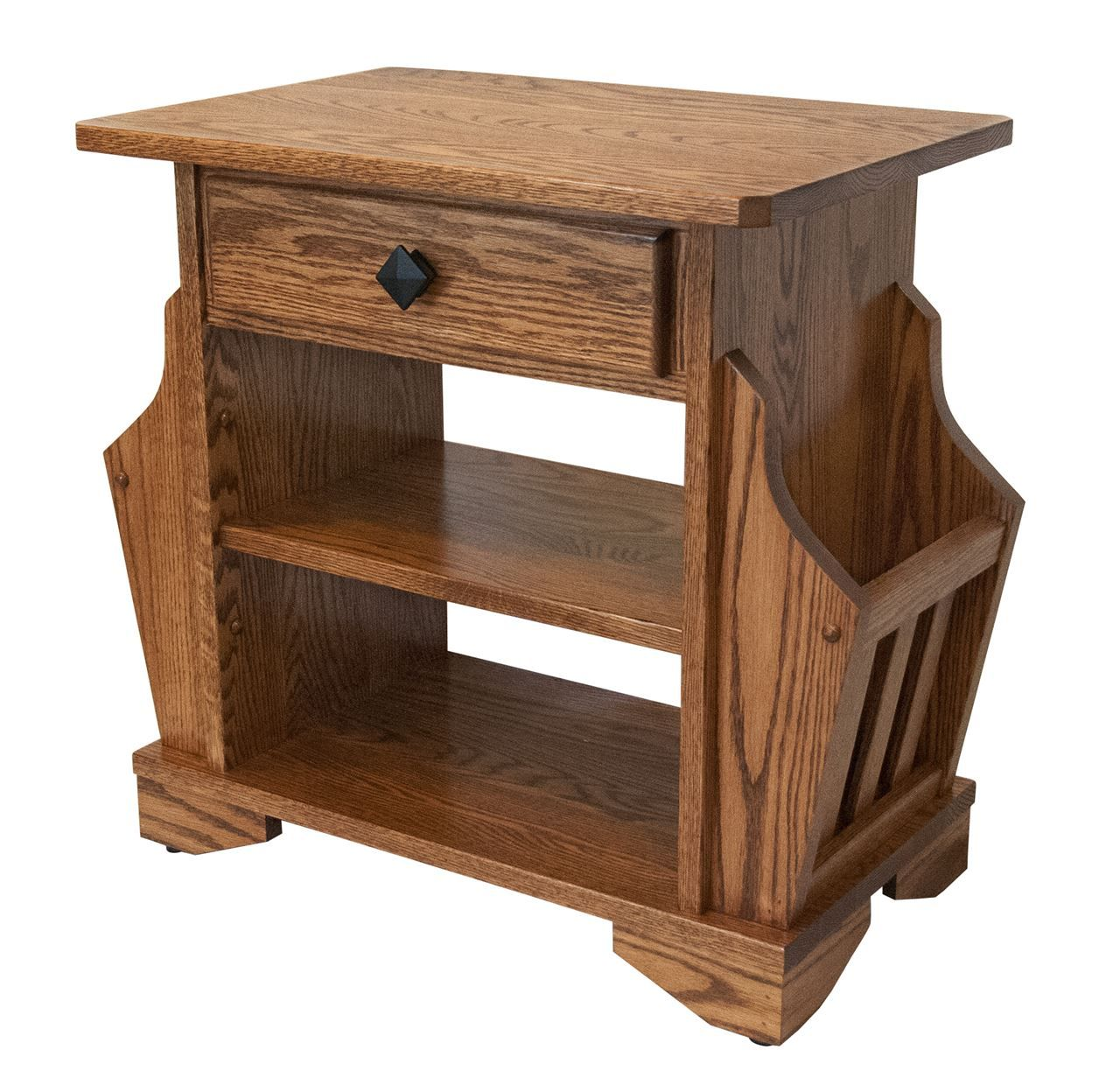 Picture Of Solid Oak Amish Built Magazine Rack End Table Mission Style W Drawer