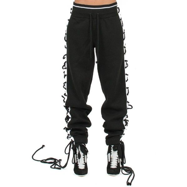 28dd89683a3c FENTY PUMA by RIHANNA Lace-Up Sweatpants ( 163) ❤ liked on Polyvore  featuring activewear, activewear pants, nero, puma activewear, sweat pants,  puma ...